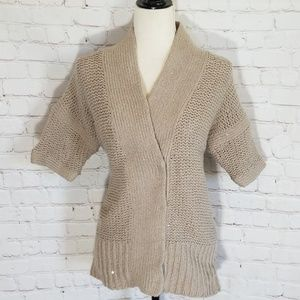 Alice + Olivia Tan Sequined Wool Cardigan
